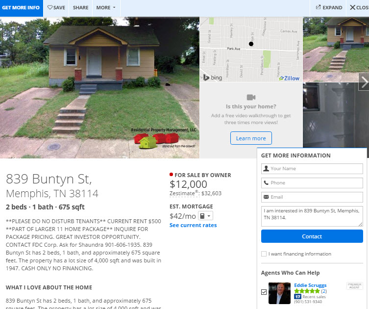 Zillow FSBO section example