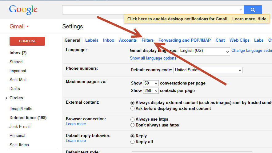 Click the Settings icon in Gmail (It's the gear in the top right ...